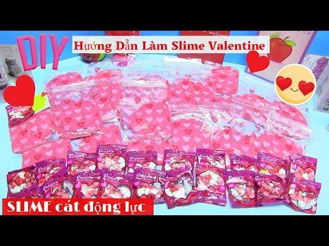 Hướng Dẫn Làm Slime Valentine Bằng Cát Động Lực ! Làm 24 Mini Slime Bag Tặng Học Sinh - chị Bí Đỏ