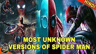 MOST UNKNOWN VERSIONS OF SPIDER MAN | SPIDER VERSE BEGINNING  (IN HINDI )