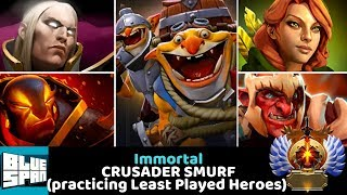 BLUE SPAN IMMORTAL ON CRUSADER (practicing Least Played Heroes) DOTA 2