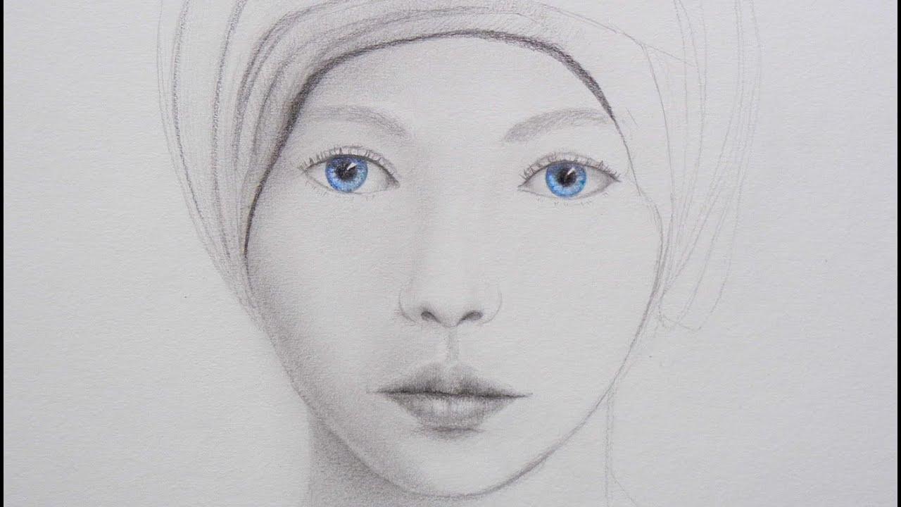Como Dibujar Y Pintar Facil El Rostro De Una Mujer De: Cómo Dibujar Un Rostro Con Ojos Azules