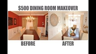 $500 Before and After Dining Room Makeover Tour Using Goodwill Thrifted & New Finds