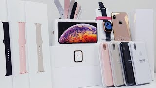 MASSIVE iPhone XS MAX & Apple Watch Series 4 Unboxing + Accessories!