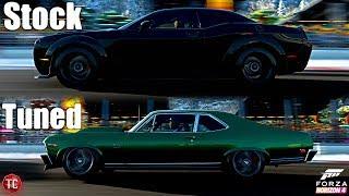 Forza Horizon 4: Stock vs Tuned! Dodge Demon vs Chevy Nova SS!