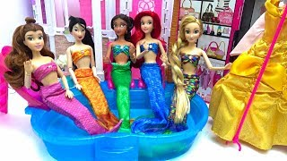 Mermaids Dress UP CHALLENGE Disney Princesses Pool Party Underwater Edition