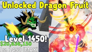 Unlocked Dragon Fruit! Got Level 1450 Max! Showcase - Blox Fruits Roblox