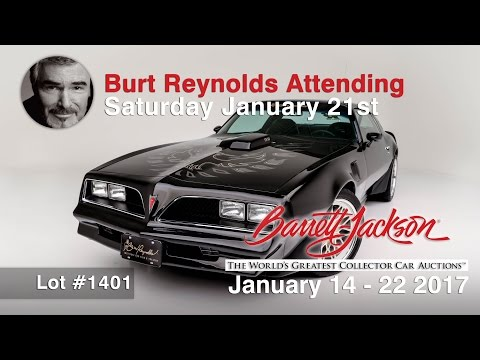 Burt Reynolds Personal Trans Am goes on the Auction Block at Barrett Jackson Scottsdale. Mr. Reynolds, an Oscar Nominee and a two-time Golden Globe winner, will be on stage attending the Scottsdale auction where he'll meet the car's new owner and personally sign the 1978 Trans Am. This car has been assigned Lot #1401- designating it as a featured car that will be auctioned at 6 p.m. EST on 1/21/17 at Barrett-Jackson Scottsdale, AZ. Bidding opportunities available Onsite, Online, On Telephone.
