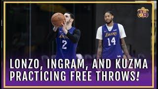 Lakers Practice: Lonzo Ball, Brandon Ingram, and Kyle Kuzma Practice Their Free Throws