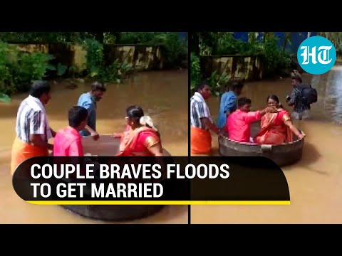 Couple floats to wedding venue in cooking vessel in Kerala, viral video
