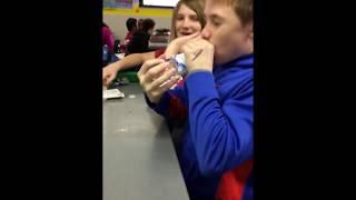 Kid drinks water bottle in 1 second
