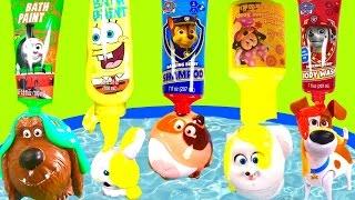 The Secret Life of Pets Bubble Bath with Toys & Paw Patrol Spongebob Bath Paint!