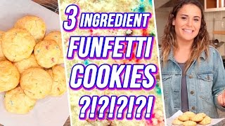 3 Ingredient FUNFETTI COOKIES?! | 3 Items Or Less w/ Ayydubs