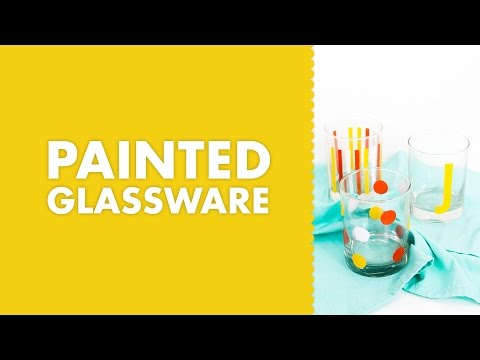 DIY Modern Polka Dot Striped and Monogram Painted Glassware