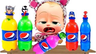 Bad Baby Crying Learn Colors Superhero Pepsi Bottles ! Colors for Kids Finger Family Nursey Rhymes