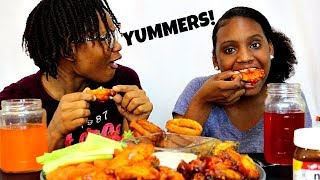 HOT WINGS & ONION RINGS MUKBANG! + NUTELLA & STRAWBERRIES!