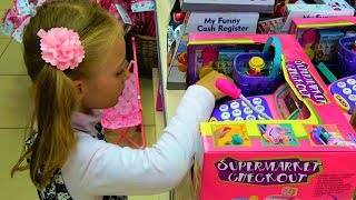 Funny Kids Shopping in the Supermarket