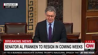 Al Franken announces resignation from Senate, slams Donald Trump and Roy Moore
