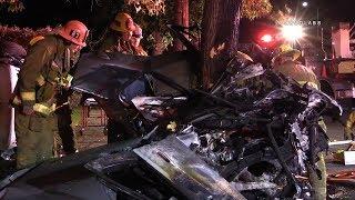 Quadruple Fatal Crash / Northridge   RAW FOOTAGE