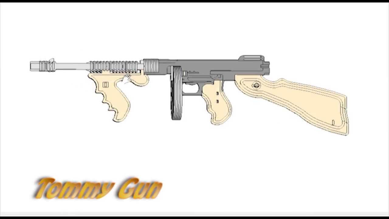 Thompson Submachine Gun Rubberband Powered Laser Cut
