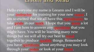 Vance ESL: Listening and Reading for Vocabulary 1