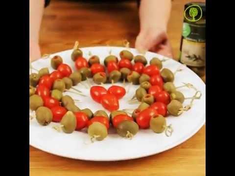 Stuffed olive-skewers!