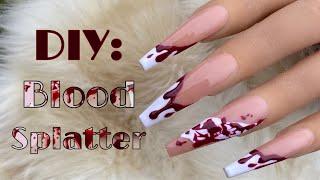 Beginner Blood Splatter Nail Art | Halloween Nail Tutorial | DIY Nails