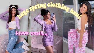 HUGE *cute & trendy* spring try on clothing haul!
