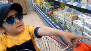 Grocery Shopping song- Abdulbaes in shopping cart at the supermarket-  Pretend Shopping for kids