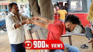 Street Barber head massage with neck cracking | Indian Massage