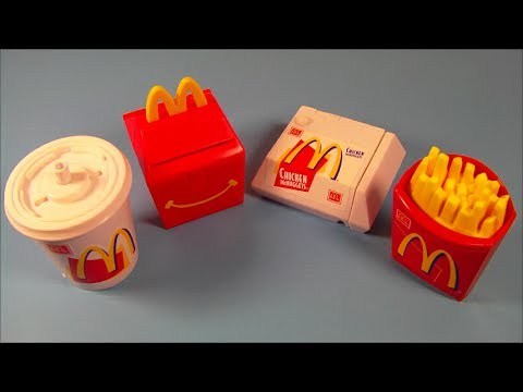1999 FOOD FOOLERS SET OF 4 McDONALDS HAPPY MEAL KIDS TOYS VIDEO REVIEW