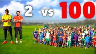 100 KIDS vs 2 Footballers In A Soccer Match