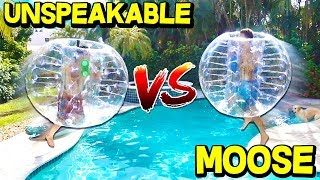 GIANT BUMPER BALL CHALLENGE! (UNSPEAKABLEGAMING VS MOOSECRAFT)