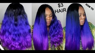 $3 HAIR : CROCHET Method On Sew In Weave NO Leave Out TUTORIAL FOR BEGINNERS : HOW TO