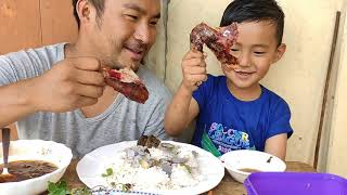 Mukbang with my son || full roast chicken.