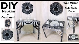 Dollar Tree DIY End Table Made From Napkins & Cardboard & Wall Mirror Decor 2019