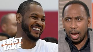LeBron has the clout to get Carmelo Anthony signed - Stephen A. | First Take