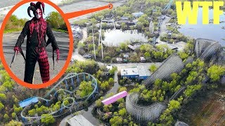 you won't believe what my drone caught in this abandoned amusement park!! (killer clown sighting)