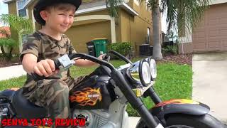 BABY Biker Senya Unboxing Harley Davidson and Playing with Power Wheel Police Ca