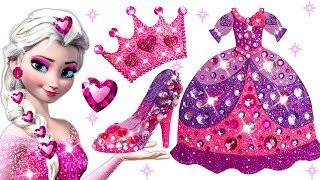 Learn Colors Play Doh Barbie Disney Princess Frozen Elsa Sparkle Shoes High Heels Dress Crown Toys