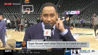 Stephen A. Smith REACTS TO Pelicans owner won't allow an Anthony Davis trade to Lakers