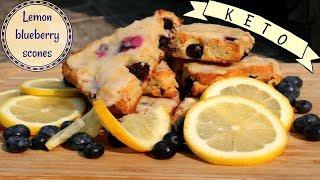 KETO Glazed Lemon Blueberry Scones