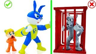 SUPERHERO BABY SAVES ANIMAL BUNNY RABBIT 💖 Stop Motion Cartoons Animation