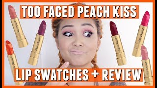 Too Faced Cosmetics NEW Peach Kiss Lipstick Lip Swatches + Review