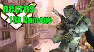 Genji Gameplay - Necros Amazing Genji  POTG - Pro Overwatch Season 15