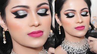 ऐसे करें कट क्रीज़ पार्टी मेकअप CUT CREASE Party Makeup In Hindi Black & Silver Look