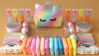 "Mixing""Unicorn"" Eyeshadow and Makeup,parts,glitter Into Slime!Satisfying Slime Video!★ASMR★"