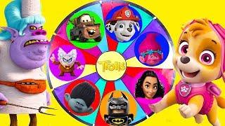 Trolls Movie Mega Wheel Game with Paw Patrol and Moana Surprise | Ellie Sparkles