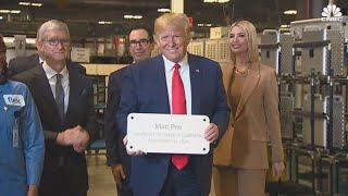 Apple's Tim Cook welcomes Trump at company plant in Texas