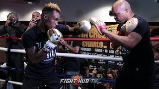 JERMELL CHARLO'S FULL MITT WORKOUT W/DERRICK JAMES - CHARLO VS TROUT VIDEO