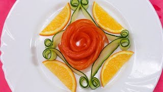Garnishing Orange & Cucumbers With Tomato Easy Vegetable Decoration