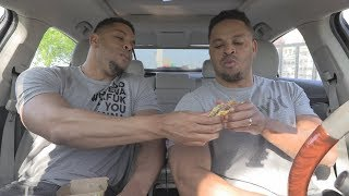 Eating Mc Donalds Garlic White Cheddar Burger @hodgetwins